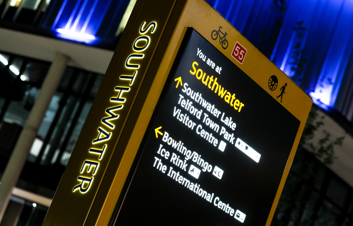 Picture of an information board in Southwater Square in Telford