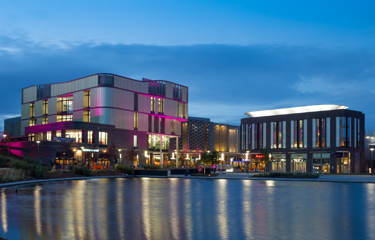 A picture of Southwater Square at night fall