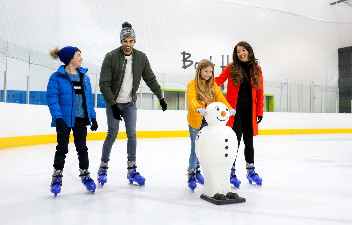 Picture of a family skating at Telford Ice Rink