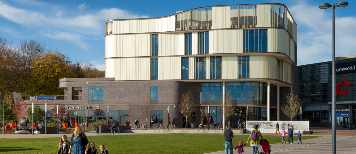 A photograph of Southwater One Library taken across from the open space outside